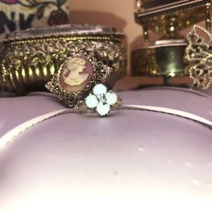 10 Kt Natural opal a d diamond ring